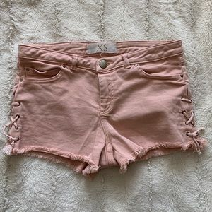 Pink Jean Shots w/ Lace Up Sides